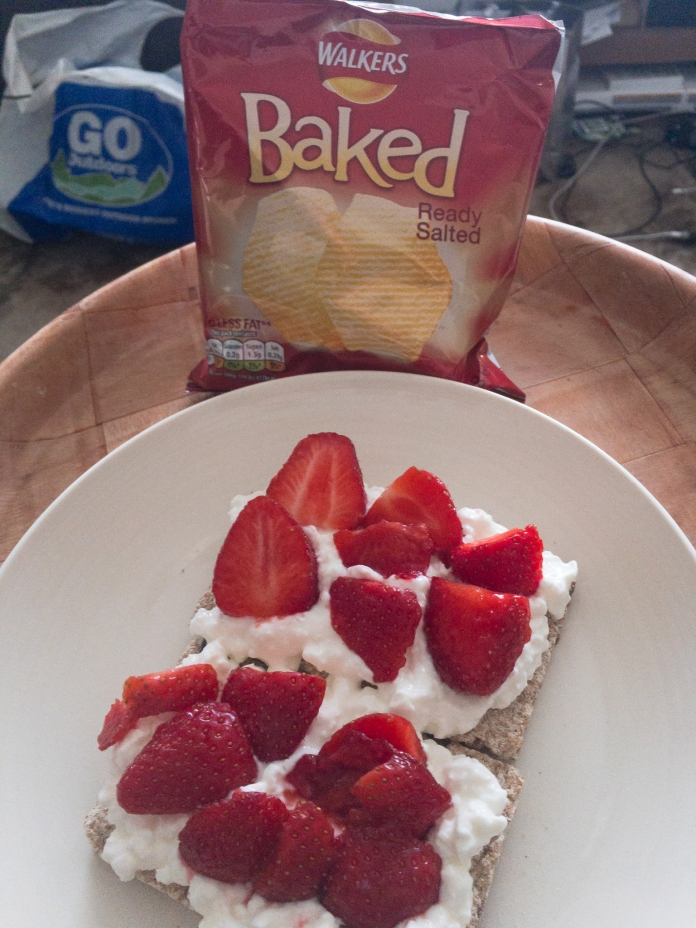 Ryvita Fruit Crispbreads with Fat Free Cottage Cheese and sliced strawberries