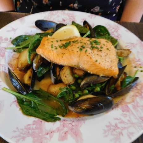 Sea Trout and Mussels with Roast Baby Potatoes and peas