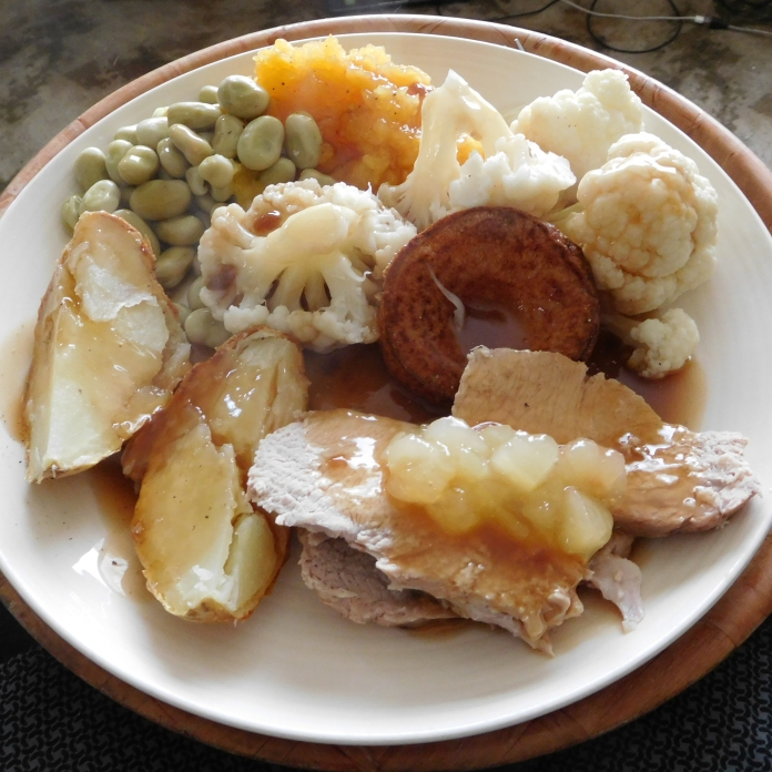 Roast Pork Loin with apple sauce, gravy, baked potato, broad beans, cauliflower, swede and Yorkshire Pudding