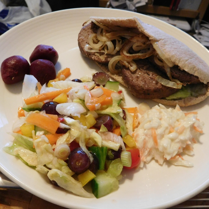 2017-05-14 Dinner. Beefburgers in Pitta