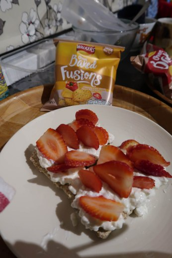 Colin's Ryvita Fruit Crunch Crispbread with Fat Free Cottage Cheese and Strawberries